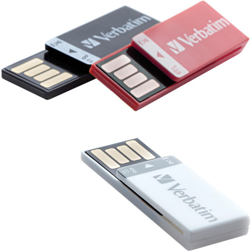 Verbatim 8GB Clip-it USB Drive (Black, White, Red, 3-Pack)
