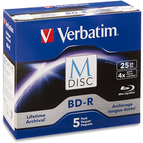 Verbatim 25GB BD-R 4x M-DISC with Branded Surface (5-Pack Jewel Case Box)