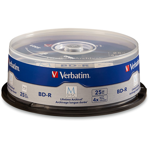 Verbatim 25GB BD-R 4x M-Disc with Branded Surface (25-Pack Spindle)