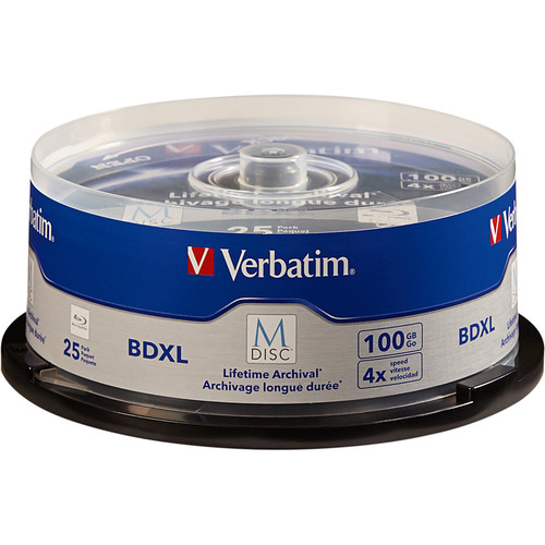 Verbatim M-Disc BDXL 100GB 4x Blu-ray Discs (Spindle, 25-Pack)