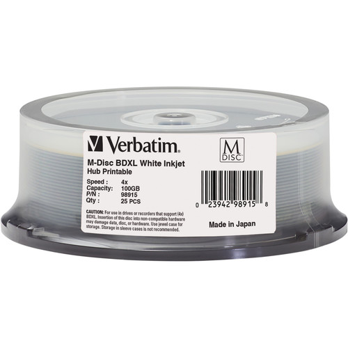 Verbatim M-DISC BDXL 100GB 4x White Inkjet/Hub Printable Disc (25-Pack Spindle)
