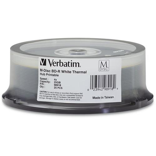 Verbatim 25GB BD-R 4x White Thermal Printable/Hub Printable M-Disc (25-Pack Spindle)