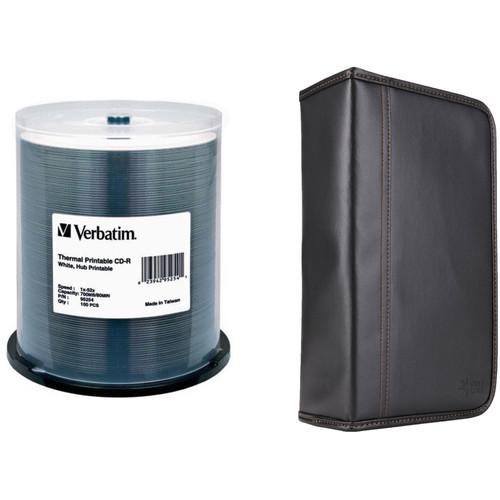 Verbatim CD-R 52x White Thermal, Hub Printable Compact Disc Kit with 100-Capacity Disc Wallet