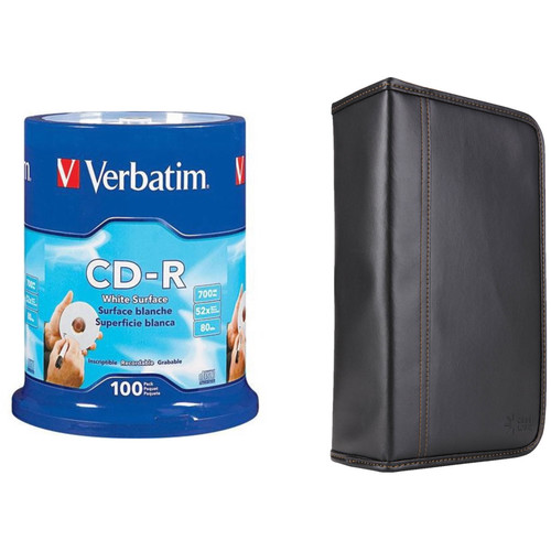 Verbatim CD-R 700MB 52x White Surface Recordable Compact Disc Kit with 100-Capacity Disc Wallet