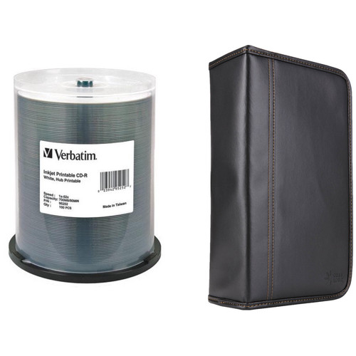 Verbatim CD-R 700MB 52x Write-Once White Hub Printable Disc Kit with 100-Capacity Disc Wallet