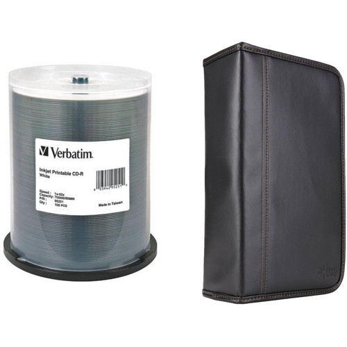 Verbatim CD-R 700MB 52x Write-Once White Inkjet Printable Disc Kit with 100-Capacity Disc Wallet