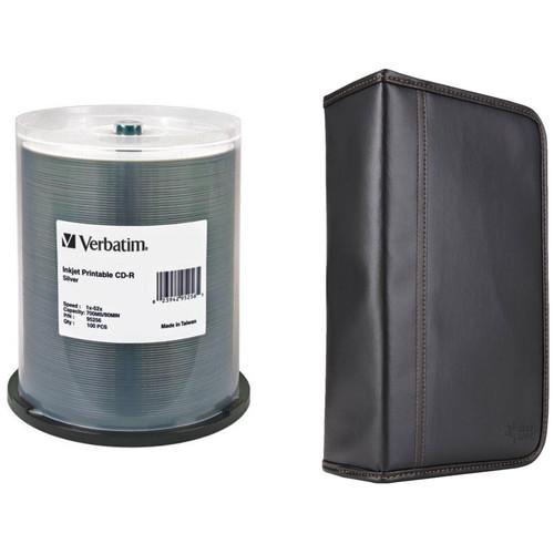 Verbatim CD-R 700MB 52x Write-Once Silver Inkjet Printable Disc Kit with 100-Capacity Disc Wallet