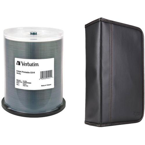 Verbatim CD-R 700MB 52x Write-Once White Inkjet Printable Disc Kit with 100-Capacity Disc Wallet