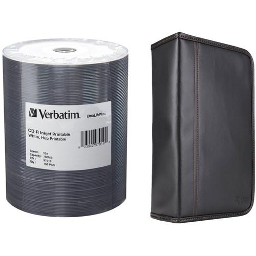 Verbatim CD-R 80 High Speed, Inkjet Hub Printable Compact Disc Kit with 100-Capacity Disc Wallet