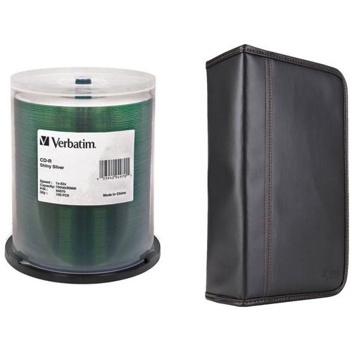 Verbatim CD-R Silver Silk Screen Disc Kit with 100-Capacity Disc Wallet