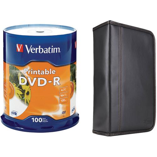 Verbatim DVD-R 4.76GB 16x White Inkjet Printable Disc Kit with 100-Capacity Disc Wallet