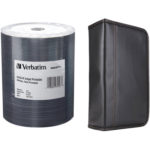 Verbatim DVD-R 4.7GB 16x Inkjet Printable Disc Kit with 100-Capacity Disc Wallet