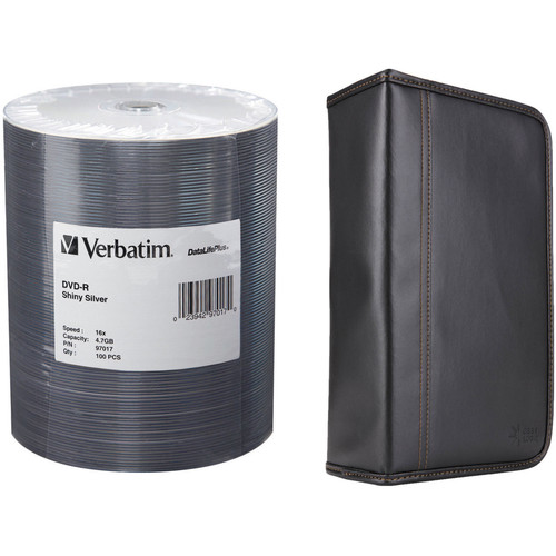 Verbatim DVD-R 4.7GB 16x Shiny Silver Disc Kit with 100-Capacity Disc Wallet