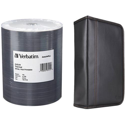 Verbatim DVD-R 4.7GB 16x Thermal Printable Disc Kit with 100-Capacity Disc Wallet