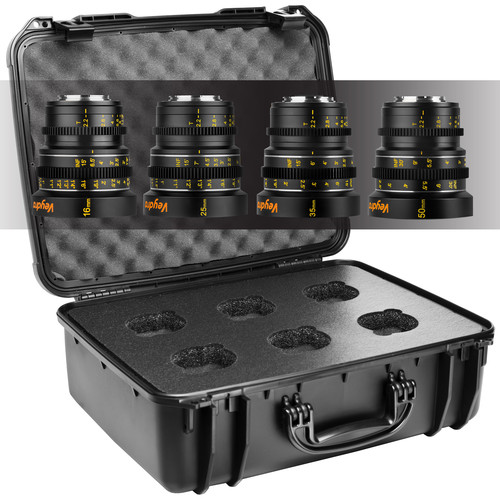 Veydra Mirrorless Mini Prime 16/25/35/50mm Micro Four Thirds Mount Lens Set with Hard Case (Imperial Markings)