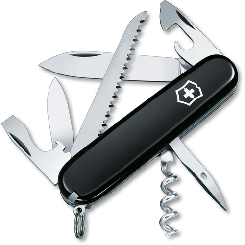Victorinox Camper Pocket Knife (Black, Clamshell Packaging)