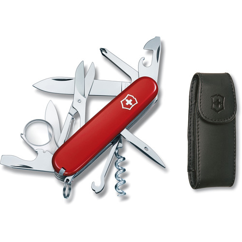 Victorinox Explorer Pocket Knife with Pouch (Red, Clamshell Packaging)