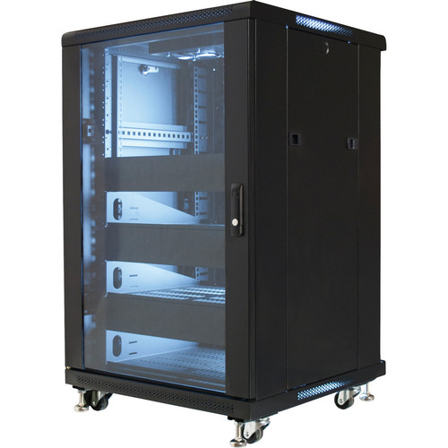 "Video Mount Products 19"" Equipment Rack Enclosure with Pre-Loaded Shelves, Blanks, & Cooling Fans (18 RU)"