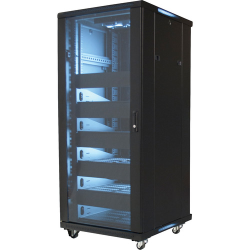 "Video Mount Products 19"" Equipment Rack Enclosure with Pre-Loaded Shelves, Blanks, & Cooling Fans (27 RU)"