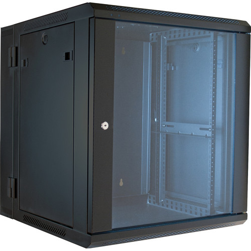 "Video Mount Products 19"" Hinged Wall Equipment Rack Enclosure with 16"" Depth (Black, 12-Spaces)"