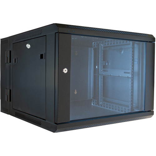 "Video Mount Products 19"" Hinged Wall Equipment Rack Enclosure with Tempered Glass Front Door (6 RU)"