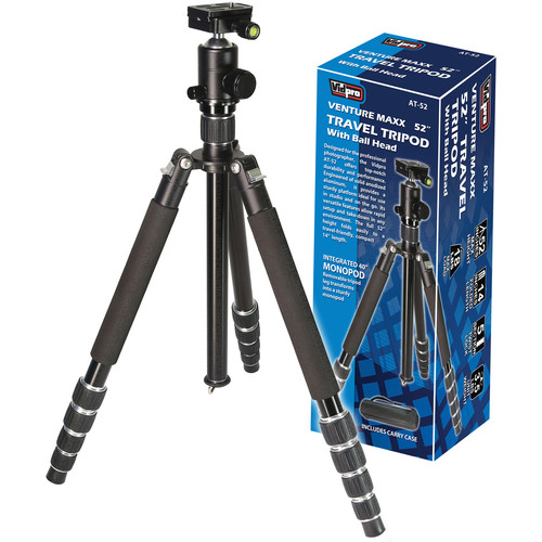 "Vidpro AT-52 VentureMaxx 52"" Professional Aluminum Travel Tripod with Quick Release Ball Head"