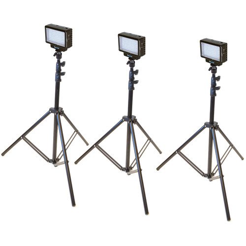 Bescor Three-Point LED-70 Studio On-Camera Lighting Kit