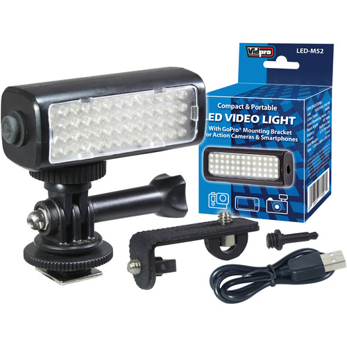 Vidpro Mini LED Video Light Kit for Action Cameras, Camcorders, and Smartphones