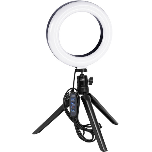 """Vidpro Bi-Color LED Ring Light Kit with Tabletop Tripod and Ball Head (6"""")"""