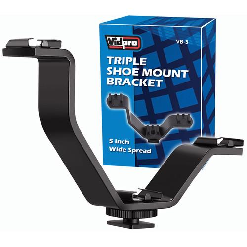 Vidpro VB-3 Triple Shoe Mount Bracket (Black)