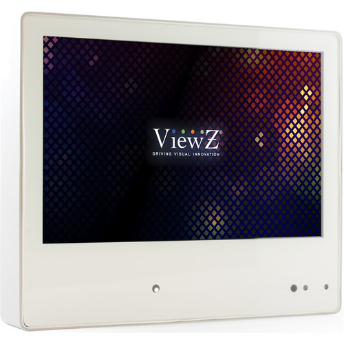 """ViewZ 10.1"""" IP HD Public View LED Monitor, Built In DVR (White)"""