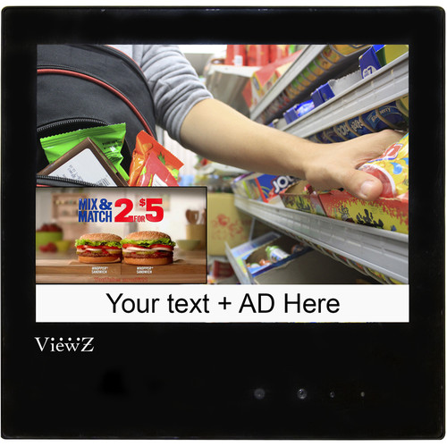 "ViewZ VZ-PVM-Z1B2 9.7"" Public View LED-Backlit CCTV Monitor with Embedded Camera"