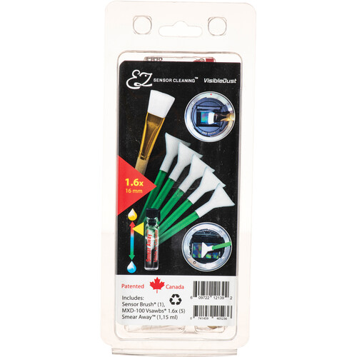 VisibleDust EZ Sensor Cleaning Kit PLUS with Smear Away, 5 Green 1.6x Vswabs and Sensor Brush