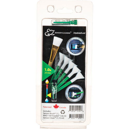 VisibleDust EZ Sensor Cleaning Kit PLUS with Sensor Clean, 5 Green 1.0x Vswabs and Sensor Brush