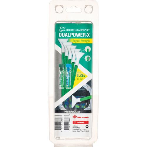 VisibleDust EZ Sensor Cleaning Kit DUALPOWER-X Regular Strength with VDust Plus, Sensor Clean, and 5 MXD-100 Green Vswabs