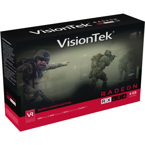 VisionTek Radeon RX 480 Overclocked Edition 8GB GDDR5 Graphics Card
