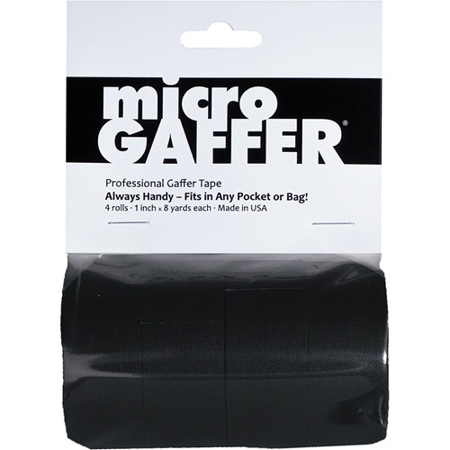 "Visual Departures microGAFFER Compact Gaffer Tape, 4 Pack 1.0"" x 24' (Black)"