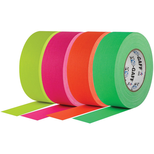 "Visual Departures Gaffer Tape (2"" x 50 yd, Fluorescent, 4-Pack)"