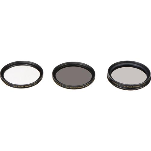 Vivitar 55mm UV, Circular Polarizer, and Solid Neutral Density 0.9 Three-Piece Filter Kit