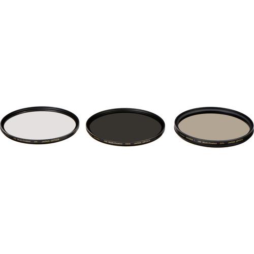 Vivitar 77mm UV, Circular Polarizer, and Solid Neutral Density 0.9 Three-Piece Filter Kit