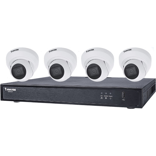 Vivotek 8-Channel 4K UHD NVR with 2TB HDD and 4 5MP Outdoor Network Night Vision Turret Cameras