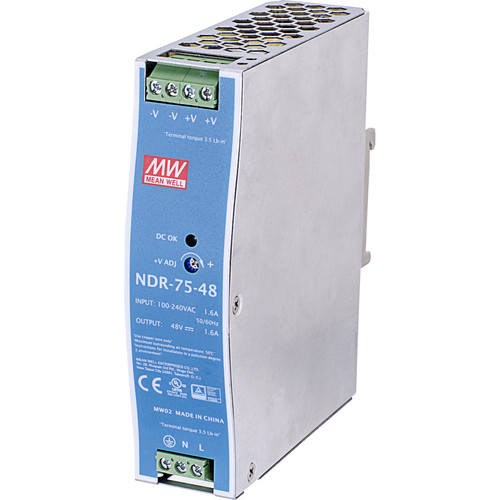 Vivotek 75W Single-Output Industrial Din Rail Power Supply for TS-35/7.5 and TS-35/15 Mounting Rail (48V)