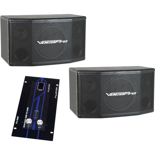 VocoPro ASP-540 Sound Reinforcement Bundle for Singers - SV-400 Speaker Pair with FA-500 Amplifier