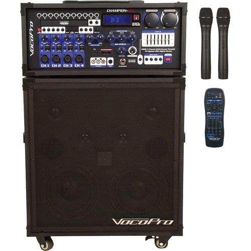 VocoPro CHAMPION-REC 4 200W 4-Channel Multi-Format Portable PA System with Digital Recorder