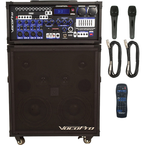 VocoPro CHAMPION-REC Basic 200W 4-Channel Multi-Format Portable PA System with Digital Recorder