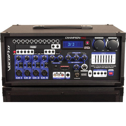 VocoPro CHAMPION-REC HEAD 3 200W 4-Channel Multi-Format Portable PA with Digital Recorder