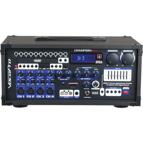 VocoPro CHAMPION-REC HEAD Basic 200W 4-Channel Multi-Format Portable PA with Digital Recorder