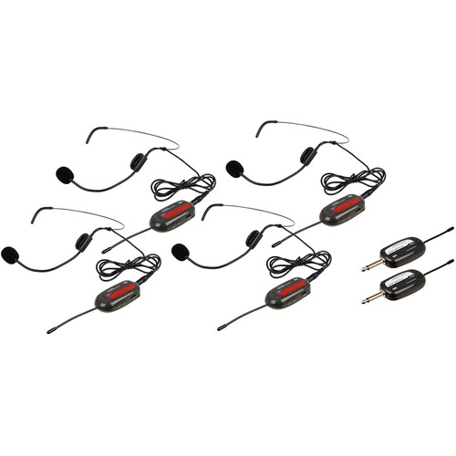 VocoPro Commander-PLAY-4 UHF Wireless Headset System with Four Microphones (902 to 928 MHz)