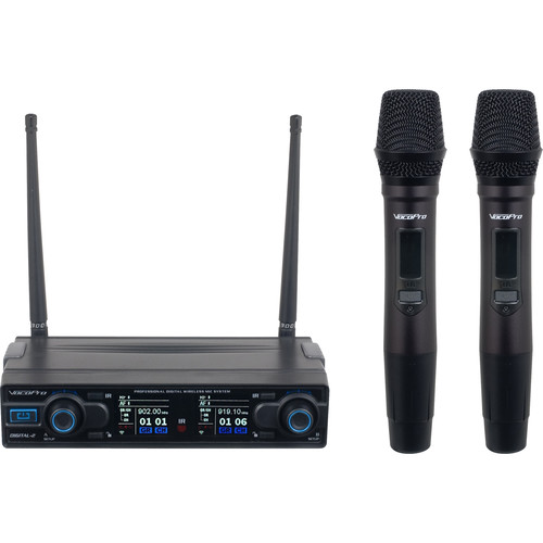 VocoPro Dual Channel Digital Wireless Handheld System with Mic-On-Chip Technology