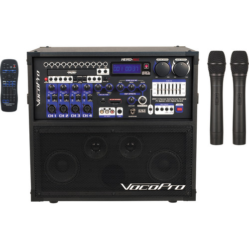 VocoPro HERO-REC 4 120W 4-Channel Multi-Format Portable PA System with Digital Recorder & 2 VHF Wireless Mics (187.75 MHz, 205.75 MHz)